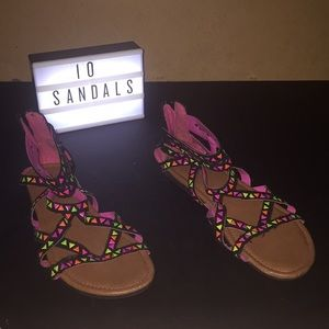 Justice Girls Black Multicolored Sandals